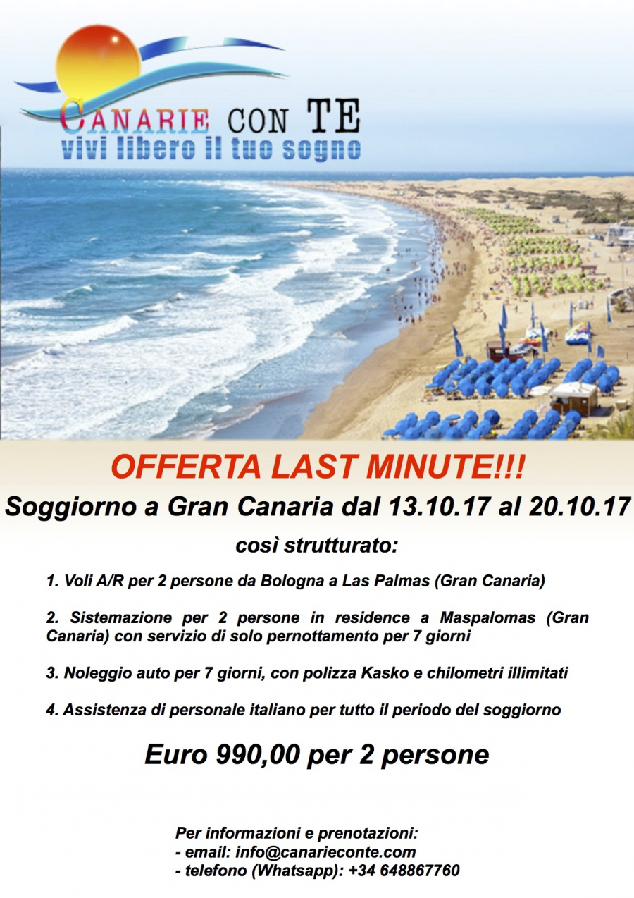 Soggiorno a Gran Canaria dal 13.10.17 al 20.10.17 - Canarie con te